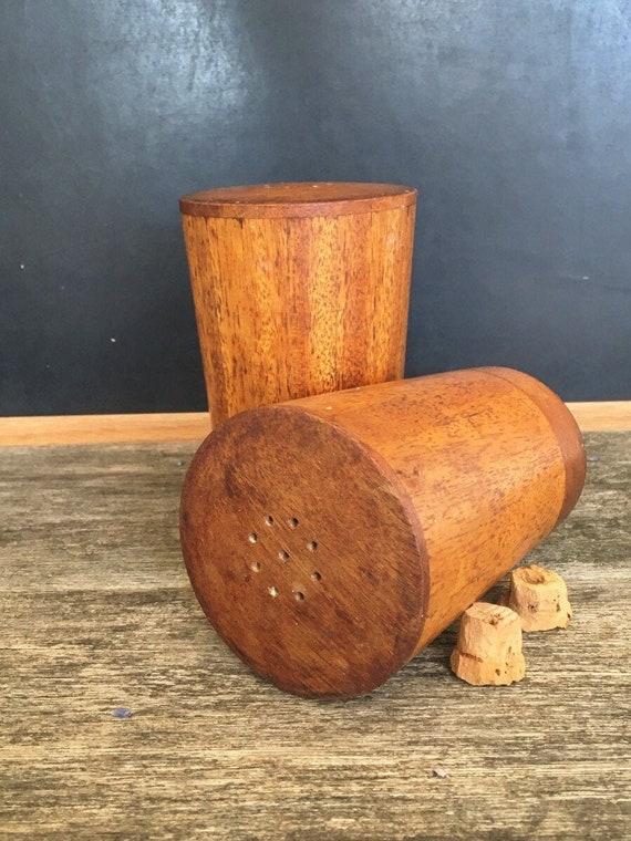Mid century Modern Table Vintage Teakwood Salt /& Pepper shakers Large Parquet Wood Shakers