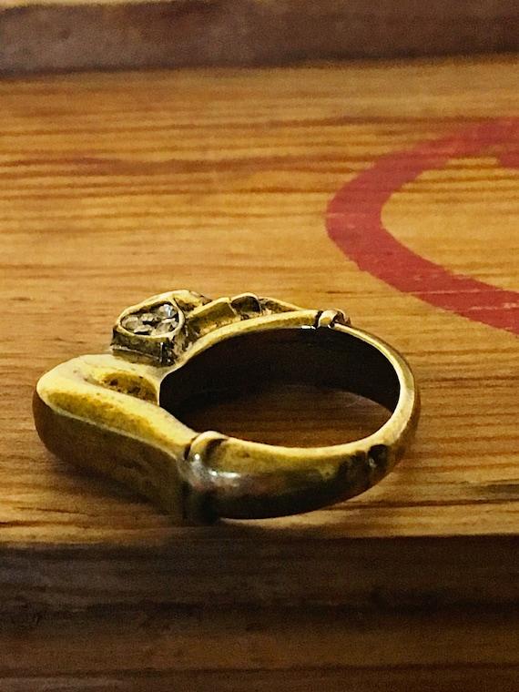 Vintage Brass Elephant Ring, 1960's Rhinestone St… - image 10