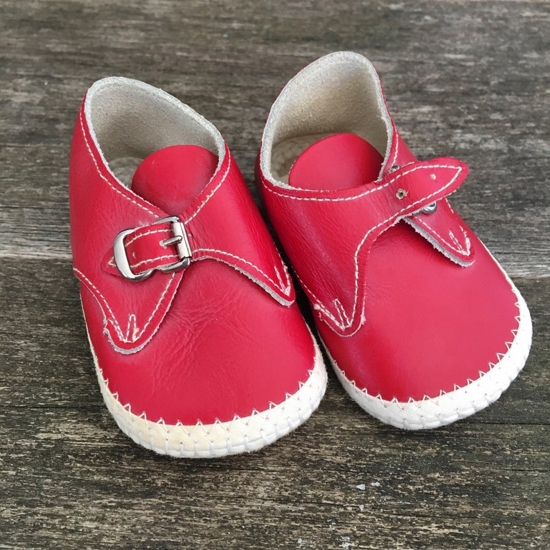 02290dc7f7dc8 Vintage Baby Shoes, Red leather Shoes, Baby Shower, Holiday baby photos