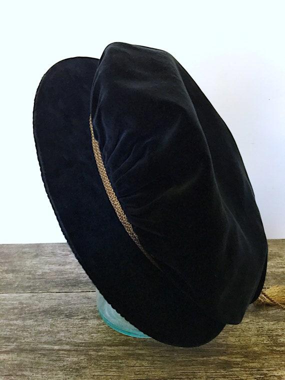 Vintage Black Velvet Poets Beret, London Haberdas… - image 10