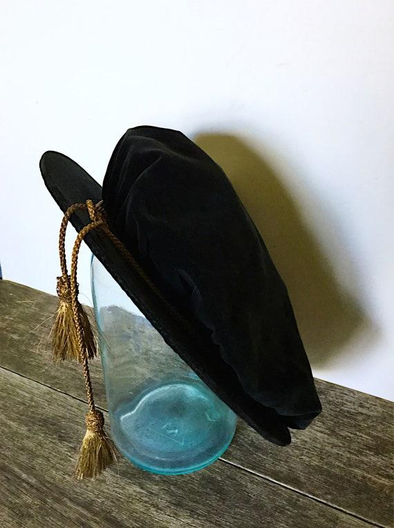 Vintage Black Velvet Poets Beret, London Haberdas… - image 3
