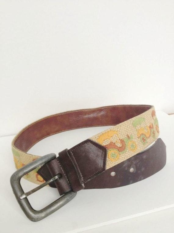 Vintage Tapestry Leather Belt, Antique Car Show be