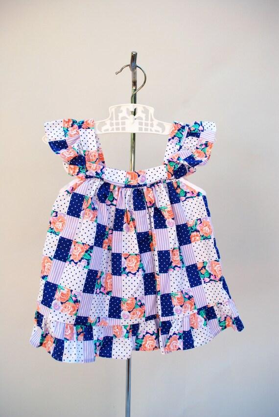 Vintage 80s girls sundress set. Toddler dress. Pin