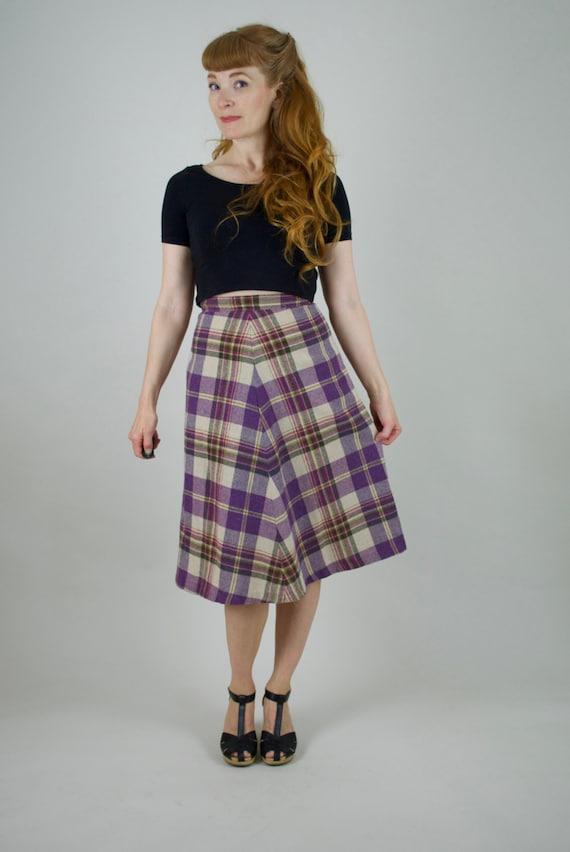 70s Navy Wool Skirt S