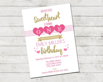 Valentines Birthday Party Invitation - Little Sweetheart Invitation - Hearts - Valentine Birthday Stripes Pink Black Gold - Printable
