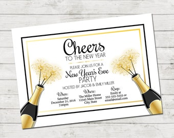 new years eve party invitation cheers to the new year champagne bottles and sparklers new years party gold black white printable