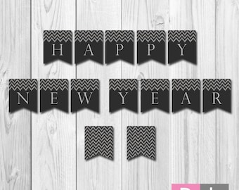 instant download happy new year banner silver glitter chevron and dark grey diy printable