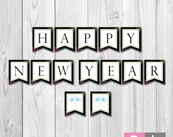 instant download happy new year banner colorful sparklers diy printable