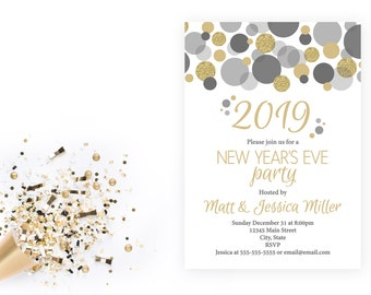 new years eve party invitation confetti 2019 new years party end of year party company party gold gray white printable