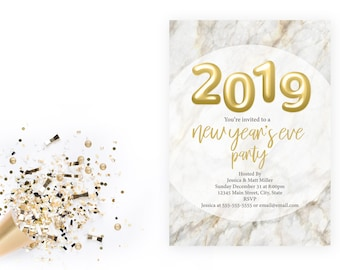 new years eve party invitation 2019 gold balloons marble new years party end of year party company marble white gold printable