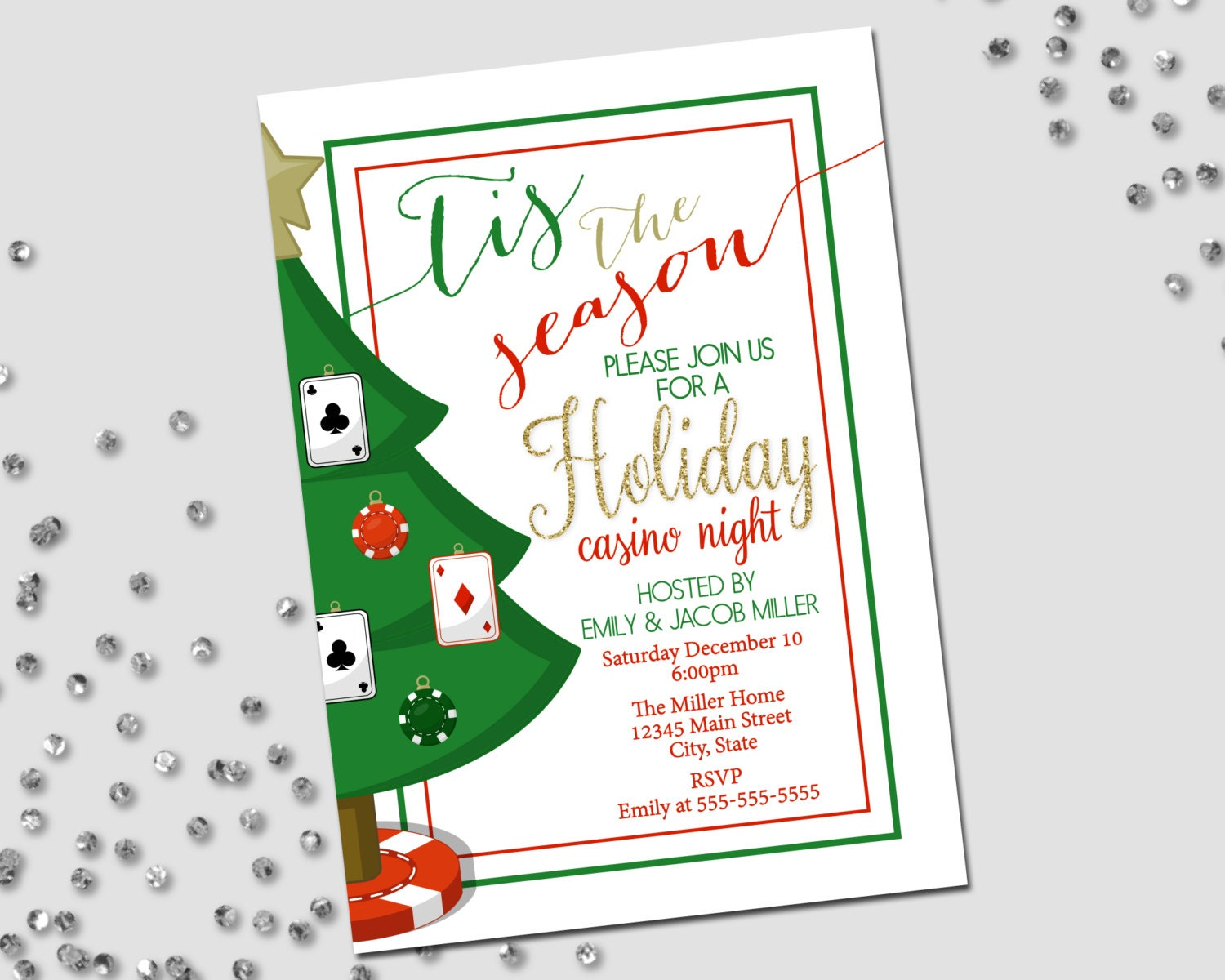This is a graphic of Inventive Free Printable Casino Party Invitations