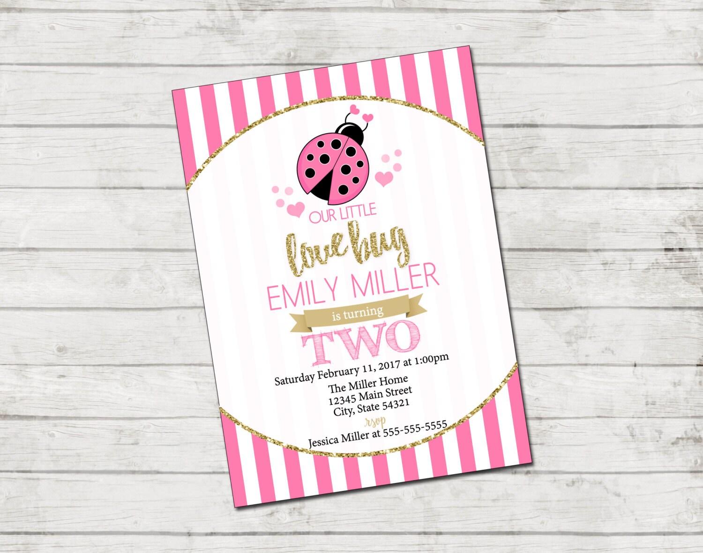 Valentines Birthday Party Invitation Lady Bug Invitation | Etsy