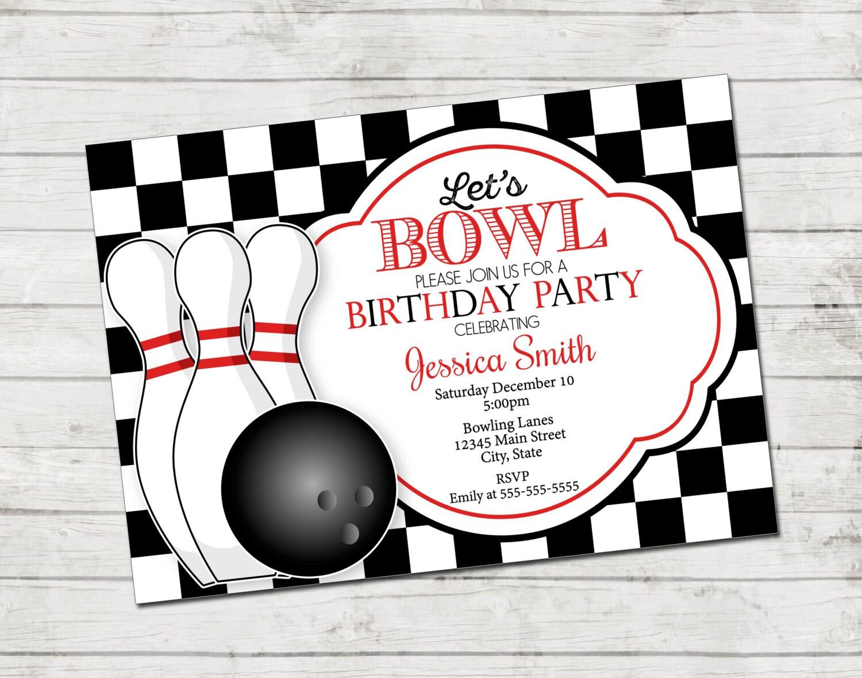 Bowling Party Invitation Let\'s Bowl Bowling Birthday | Etsy