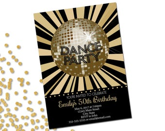 Dance Disco Party Invitation - Birthday Party Invitation - Disco Ball - Gold and Black - Printable