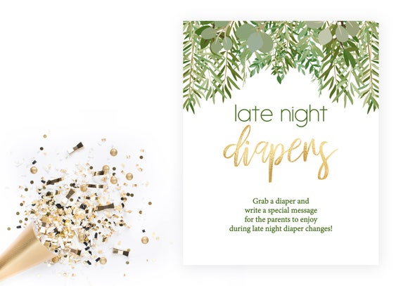 Late Night Diapers Green Leaves And Gold Baby Shower Greenery Instant Download Printable By Becca Lee Paperie Design Catch My Party