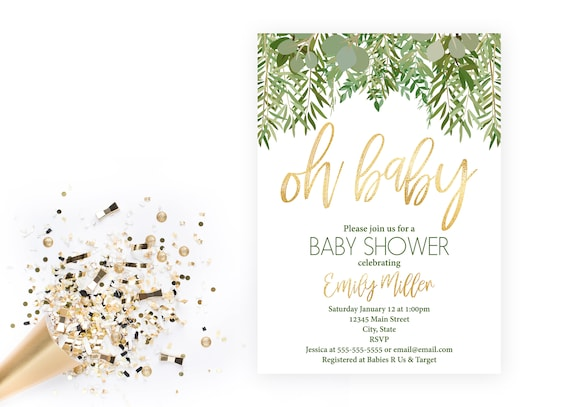Green Leaves And Gold Baby Shower Invitation Oh Baby Greenery