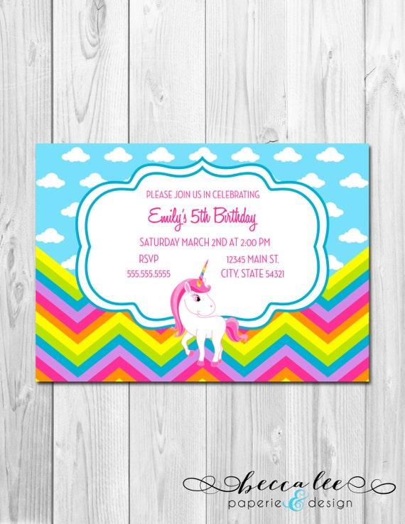 Items similar to Rainbow Unicorn Party Invitation - DIY ...