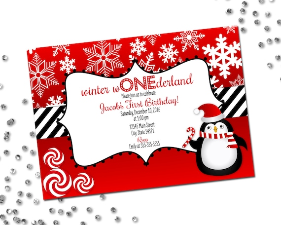 winter wonderland invitation first birthday invite holiday