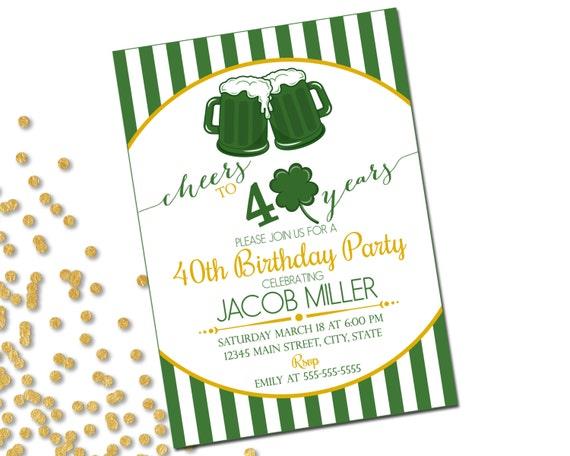 St Patricks Day 40th Birthday Party Invitation