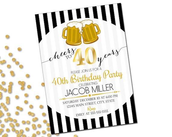 40th birthday party invitation cheers to 40 years beer etsy