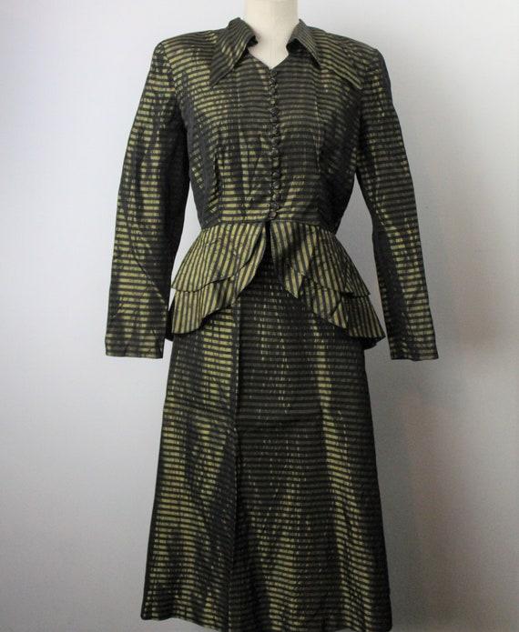 1930s Nipped Waist Taffeta Suit