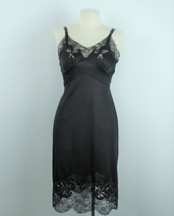 1950s Black Lace Slip - Fancy Dress Extender Skirt