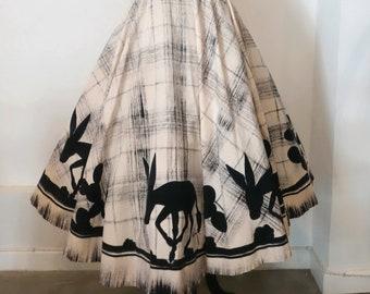 Adorable! 1950s Novelty Donkey Border Print Mexican Circle Skirt