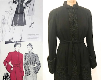 SALE! Dramatic 1940s Wasp Waisted Black Coat with Persian Lamb Trim