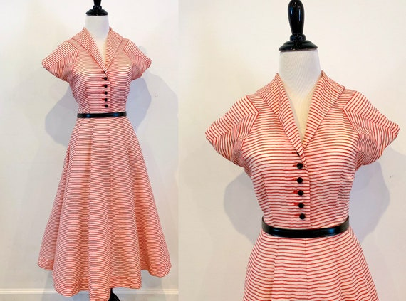 1950s Red and White Candy Stripe Organdy Dress