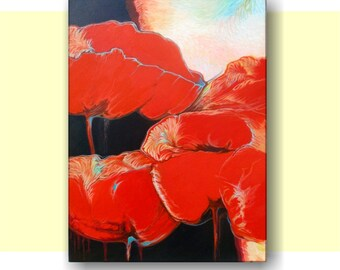 Poppies, Original Acrylic Painting, Red and Black, Abstract Painting, Home Decor, Wall Art.