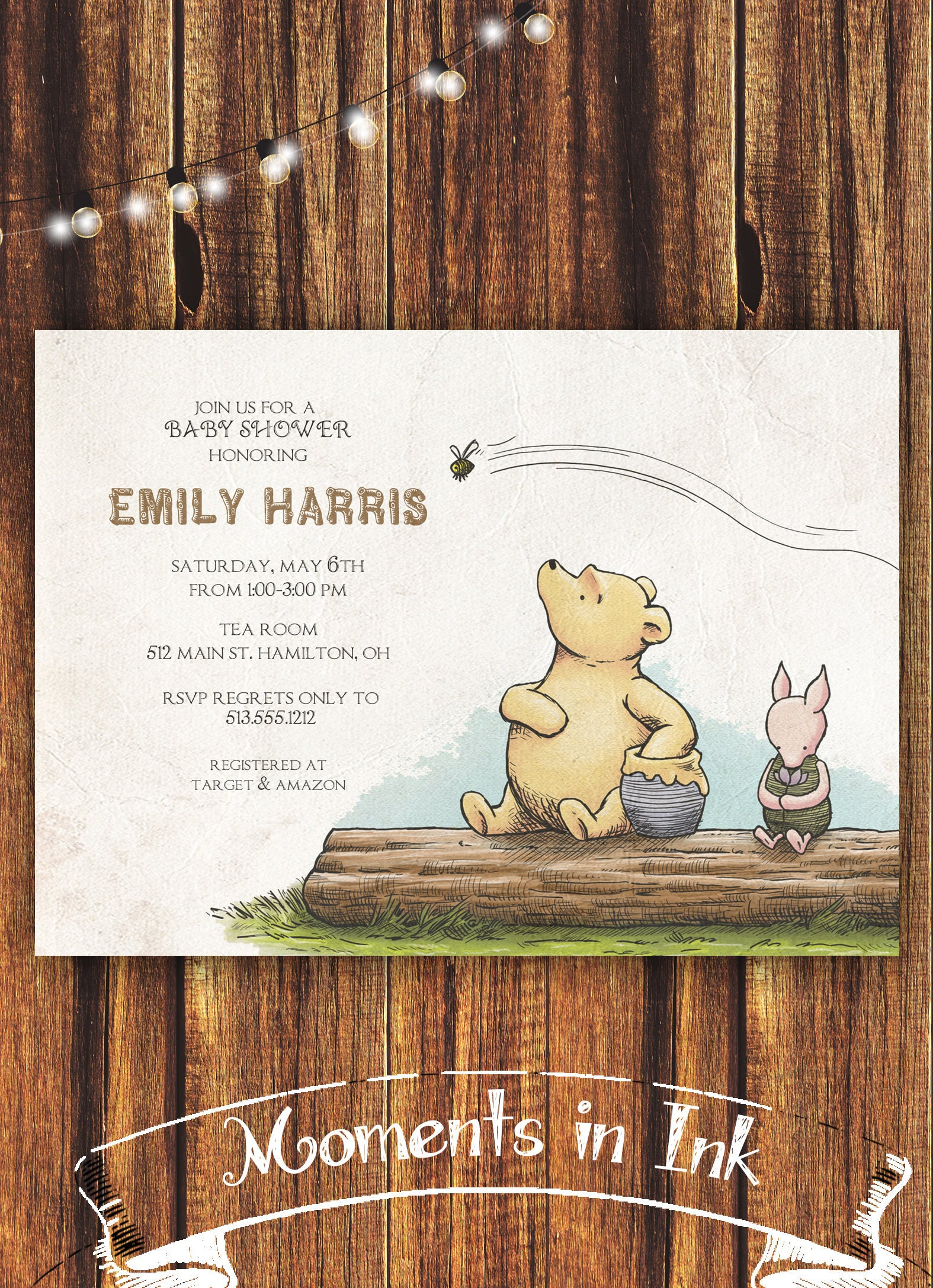 Classic Winnie the Pooh Baby Shower Invitation//FREE SHIPPING | Etsy