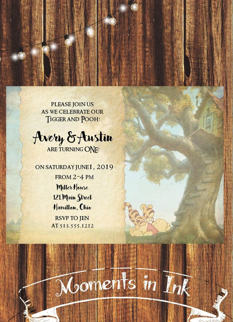 Twins First Birthday Invitation FREE SHIPPING Birthdays Baby Shower Tigger And Pooh Winnie The