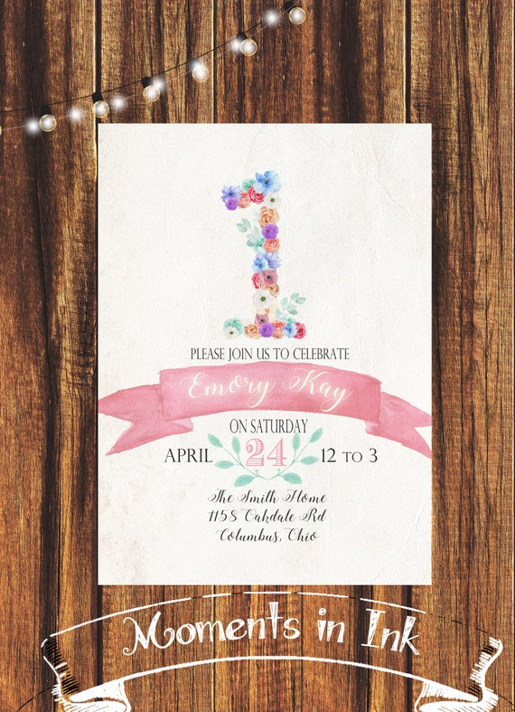 Floral First Birthday Invitation FREE SHIPPING Girls