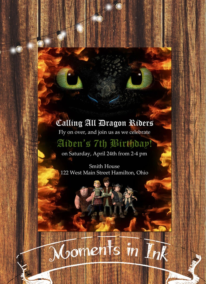 How To Train Your Dragon Birthday Invitation FREE SHIPPING
