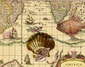 Altered Ancient Map Scrap, Map of Oceans and America, Ships with Hand-applied Fish, Scallop, Conch Shell