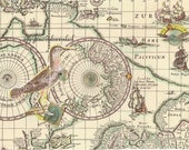 Altered Ancient Map, Scrap Showing South Pacific Ocean, Ships, with Hand-applied Bird,