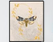 Golden Moth Wreaths 3, Vintage Moth Art, Sophisticated Wall Decor, Animal Wall Art, Elegant Farmhouse, Downloadable Printable Art
