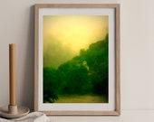 Mountain Church Chapel, Summer Landscape, River House Art, Rainy Day Decor, Downloadable Nature Lovers Art, Printable Mountain Retreat Art