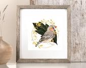 Golden Wreath, Watercolor Bird Print, Downloadable Summer Cottage Decor, Bird decorations, wall art printable