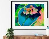 Native Rhododendron Art, Antique Aqua Asian Ceramic Bowl, Appalachian Mountain Plant, Pink Summer Flower Wall Art, Blue Chinese Dish,