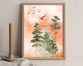 Sunrise Wall Art, Bird Wall Art, Trees Art, Mothers Day, Morning Mist , Downloadable Printable Art, Birthday Present, Mountain Blackbird