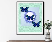 Blue Butterfly Printable Wall Art, Downloadable Spring Summer Home Decor