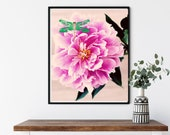 Peony and Emerald Green Jade Green Dragonfly Downloadable Printable Art