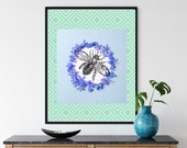 Wreath of Forget-me-nots with Large Bee With Purple Flowers Printable Wall Art, Bee Lover Decor