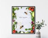 Bon Appetit Wreath, Fruit and Vegetables, Bees Kitchen Decor, Kitchen Wall Sign,Kitchen Decor, Restaurant Sign. Kitchen Signs