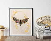 Golden Wreaths, Vintage Moth Art, Elegant Farmhouse, Sophisticated City Dwelling, Country House, Downloadable Printable, Nature Wall Art