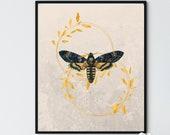 Golden Wreaths Moth 2, Downloadable Printable Art, Nature Wall Decor, Elegant Farmhouse, Sophisticated City Flat,