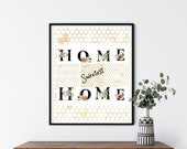Botanical Letter, Home Sweet Home, Downloadable Printable, Wall Art, Honeycomb, Bee Decor, Family, Friendship, ThanksgivingTradition