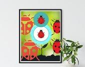 LadyBug Wall Art, Aqua Wreath Image, Downloadable Printable Art, Insect Art Print, Colorful Animal Art, Ladybug Gift