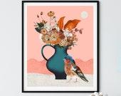 Still life with bird, animal art, bird illustration, home decor, nature wall art, bird lovers gift, Contemporary print, vase of flowers